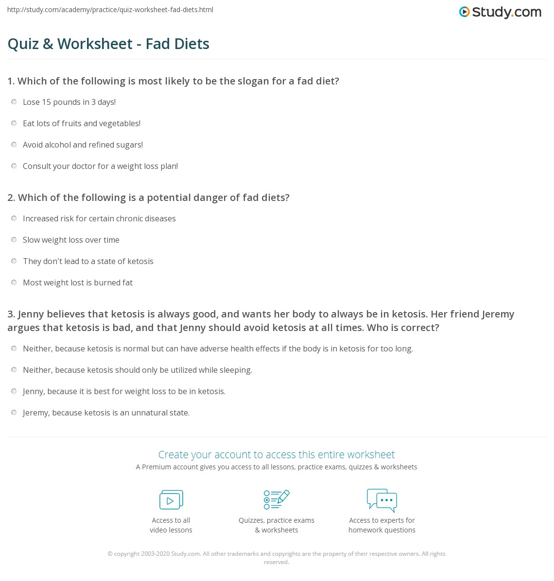 quiz & worksheet - fad diets | study