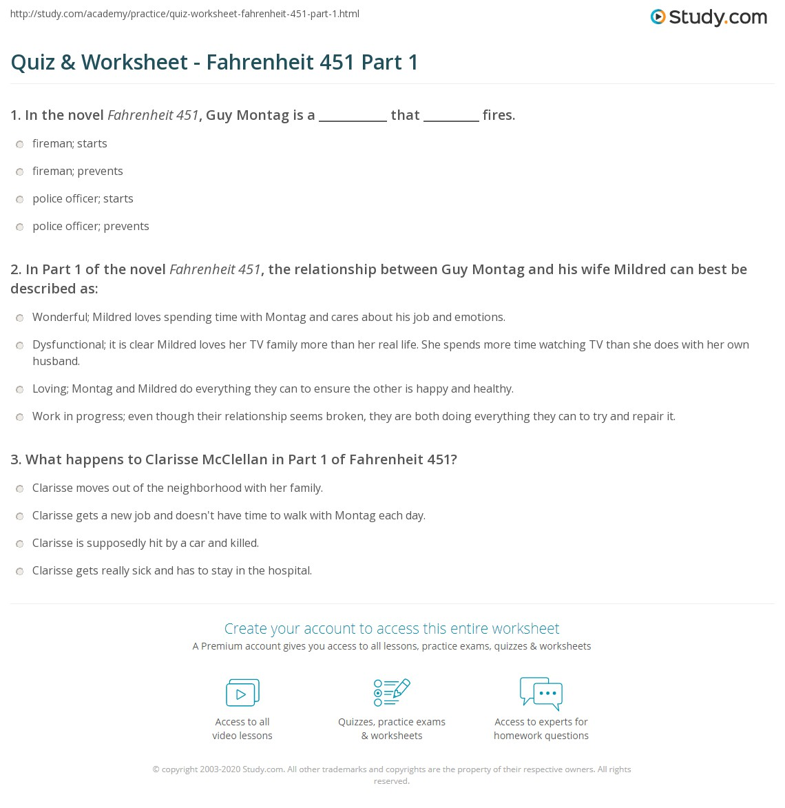 quiz worksheet fahrenheit 451 part 1 study com rh study com the hearth and the salamander study guide answers Salamander Kitchen Appliance
