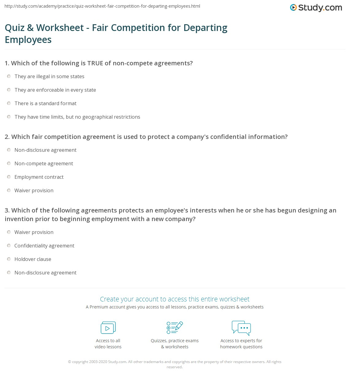 Quiz Worksheet Fair Competition For Departing Employees Study