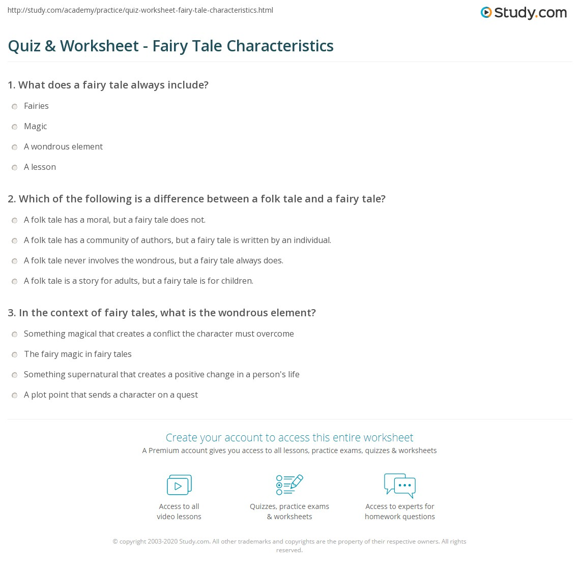 quiz worksheet fairy tale characteristics. Black Bedroom Furniture Sets. Home Design Ideas