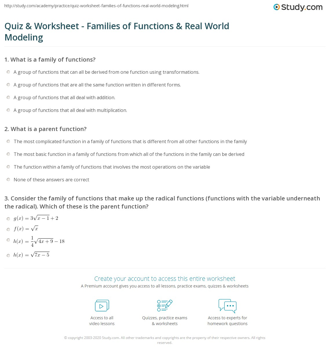 Print Modeling The Real World With Families Of Functions Worksheet