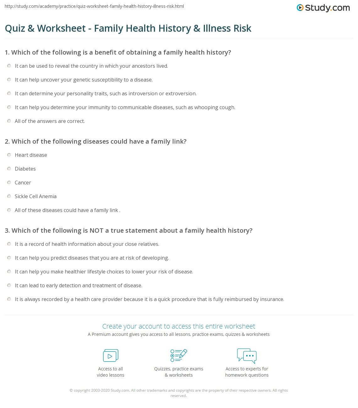 Quiz & Worksheet - Family Health History & Illness Risk