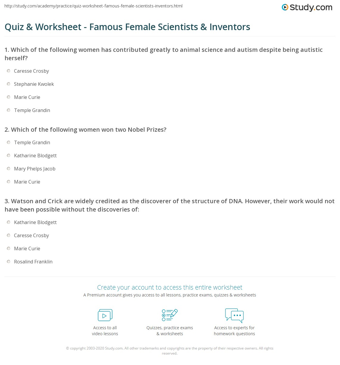 quiz worksheet famous female scientists inventors. Black Bedroom Furniture Sets. Home Design Ideas