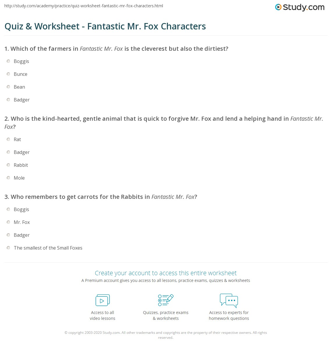 Quiz Worksheet Fantastic Mr Fox Characters Study