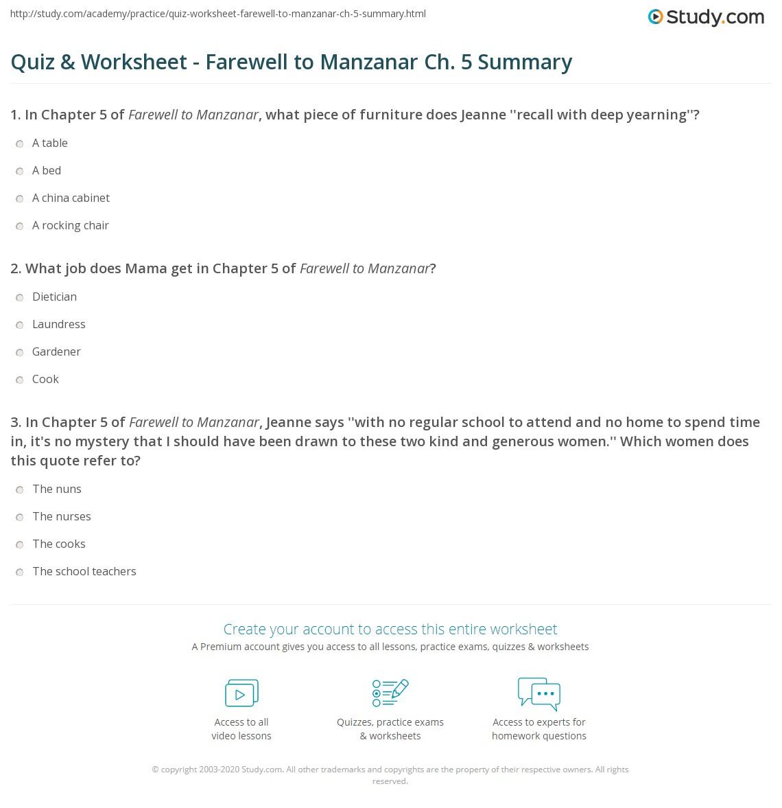 quiz worksheet farewell to manzanar ch 5 summary. Black Bedroom Furniture Sets. Home Design Ideas