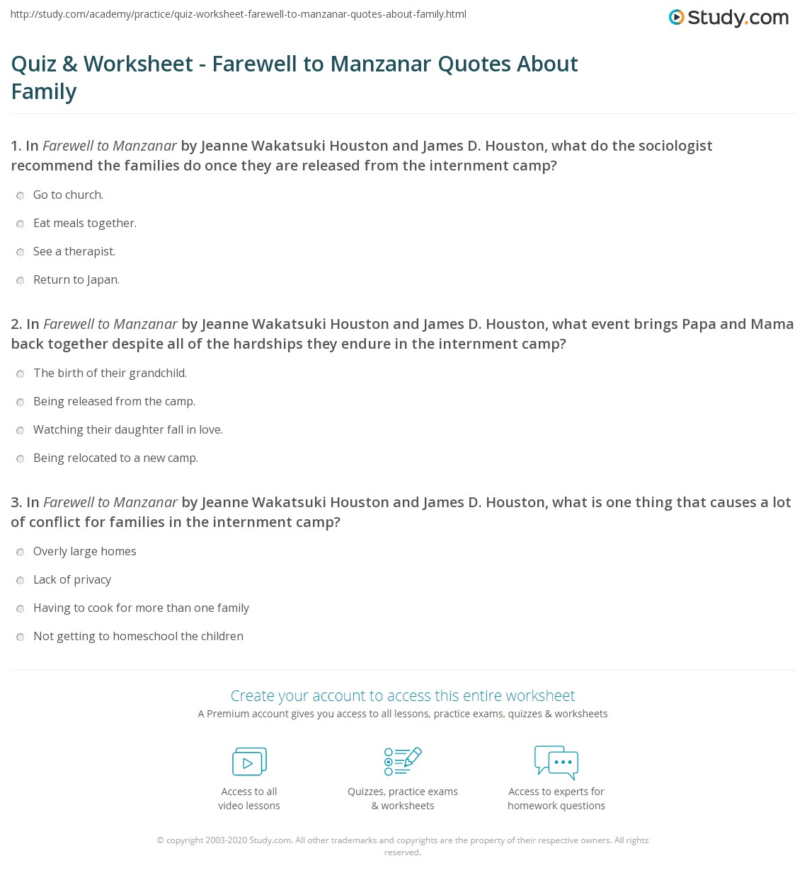 Quiz worksheet farewell to manzanar quotes about family in farewell to manzanar by jeanne wakatsuki houston and james d houston what event brings papa and mama back together despite all of the hardships they aiddatafo Image collections