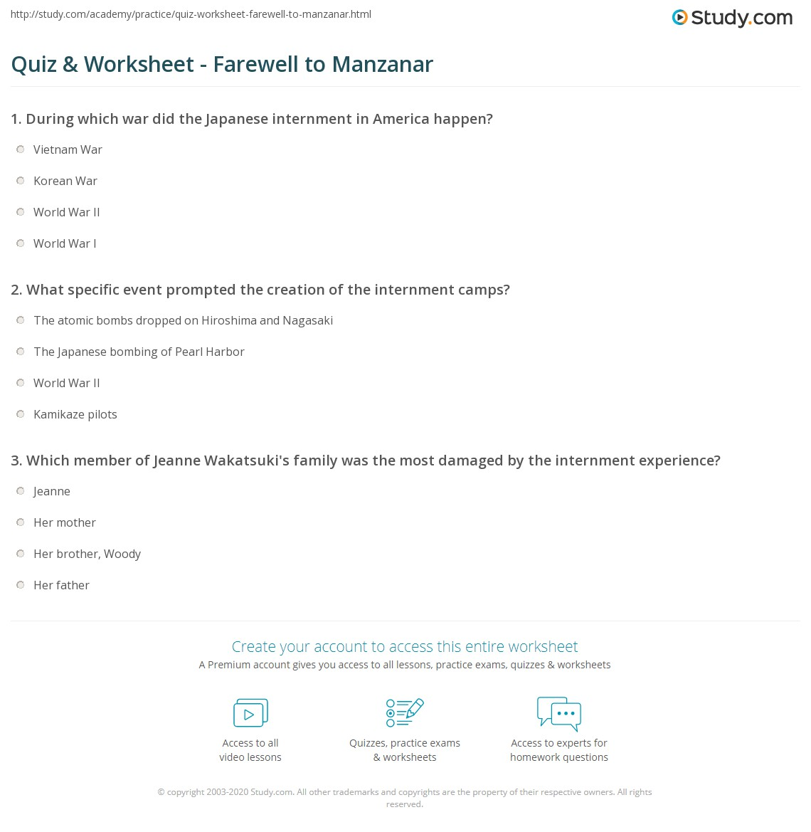 Worksheets Farewell To Manzanar Worksheets quiz worksheet farewell to manzanar study com print summary characters themes author worksheet