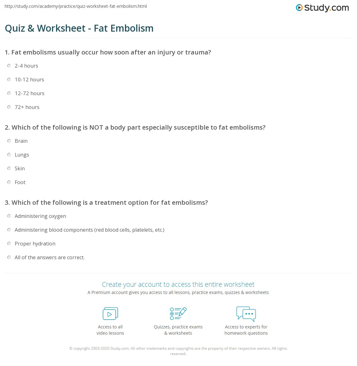 Print Fat Embolism: Definition, Causes, Symptoms U0026 Treatment Worksheet