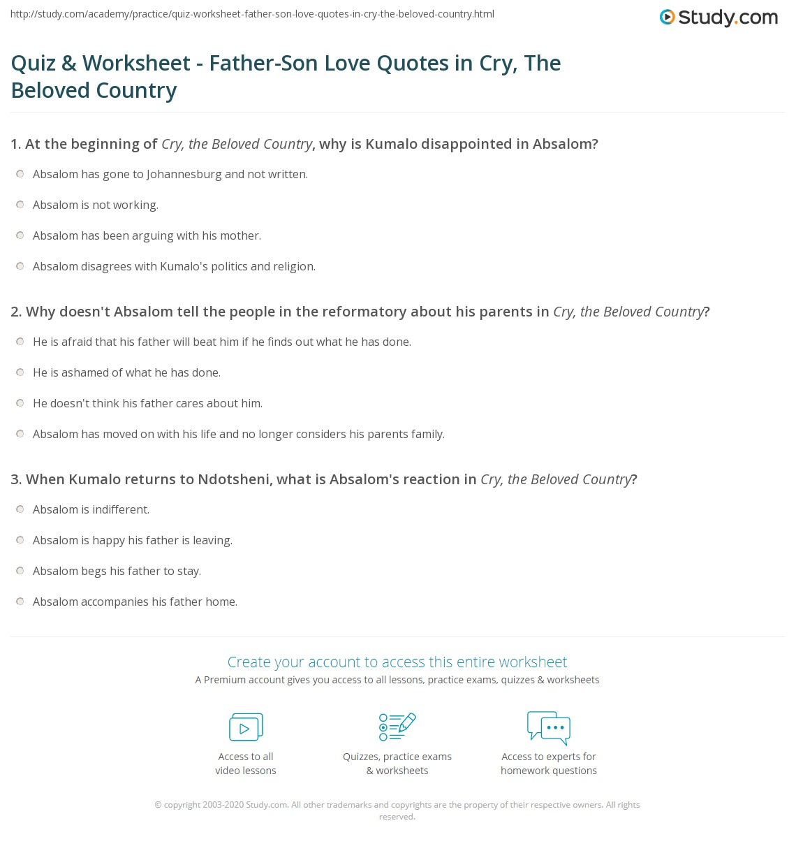 Father Son Love Quotes Mesmerizing Quiz & Worksheet  Fatherson Love Quotes In Cry The Beloved