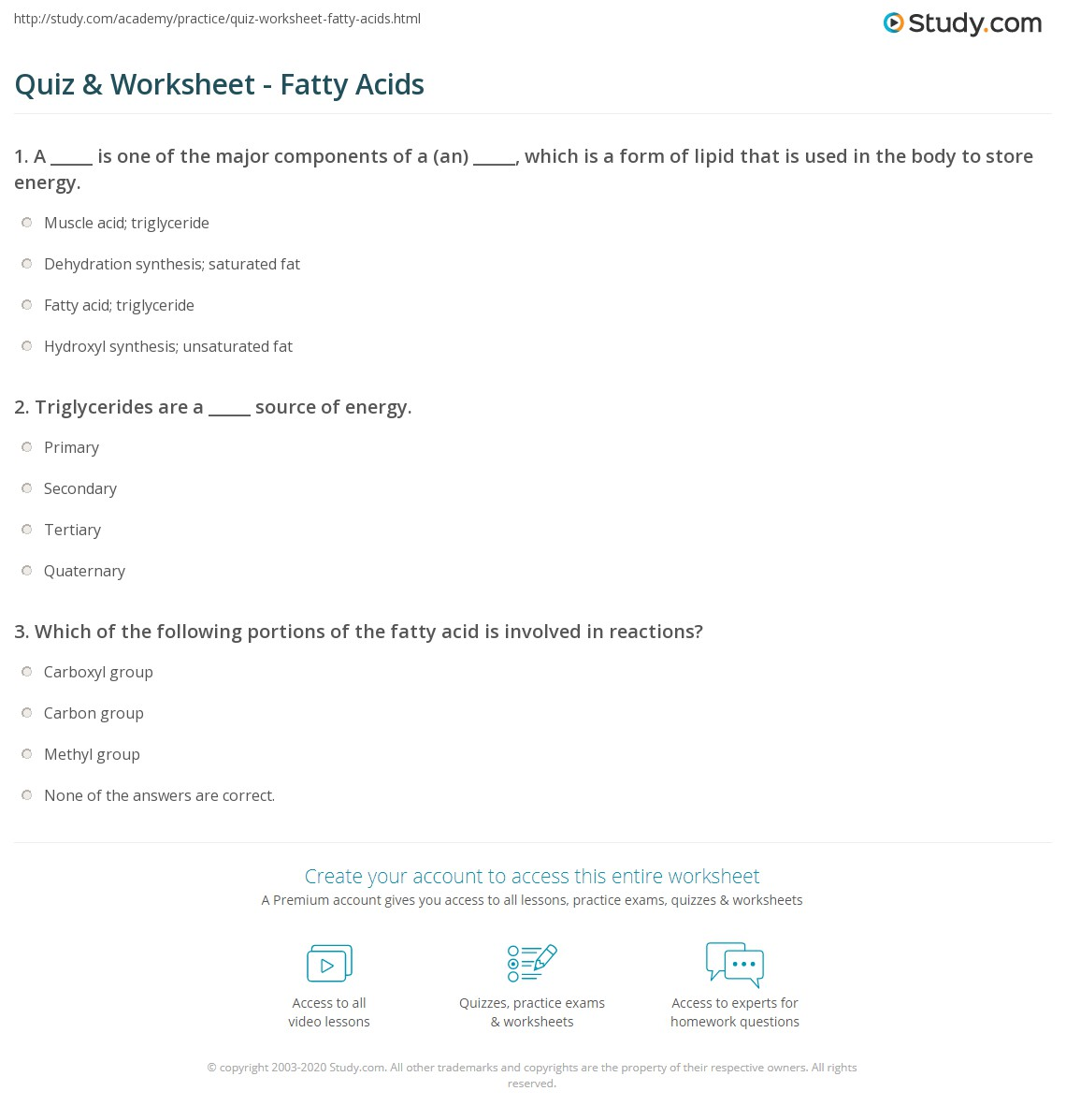 Quiz Worksheet Fatty Acids Study Com
