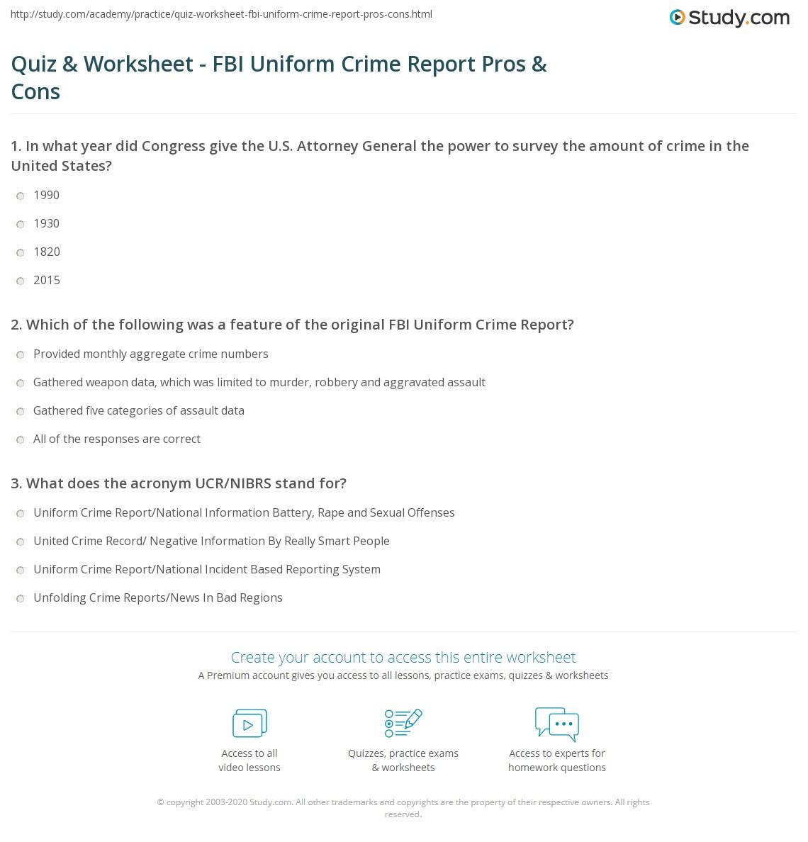 worksheet Ballistics Worksheet quiz worksheet fbi uniform crime report pros cons study com print definition worksheet