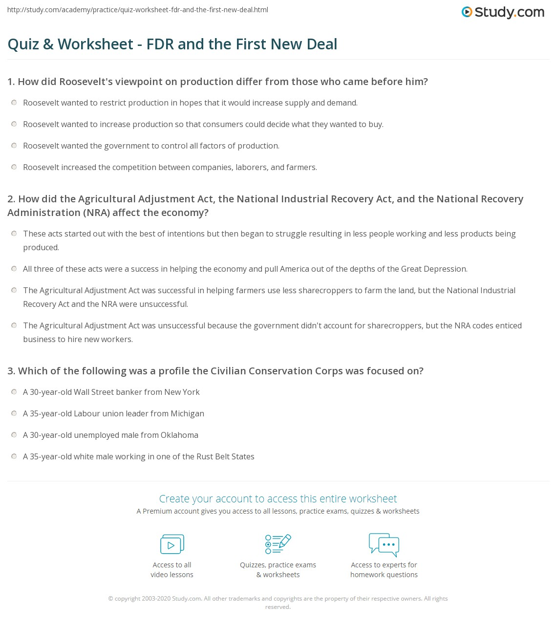 Quiz & Worksheet FDR and the First New Deal