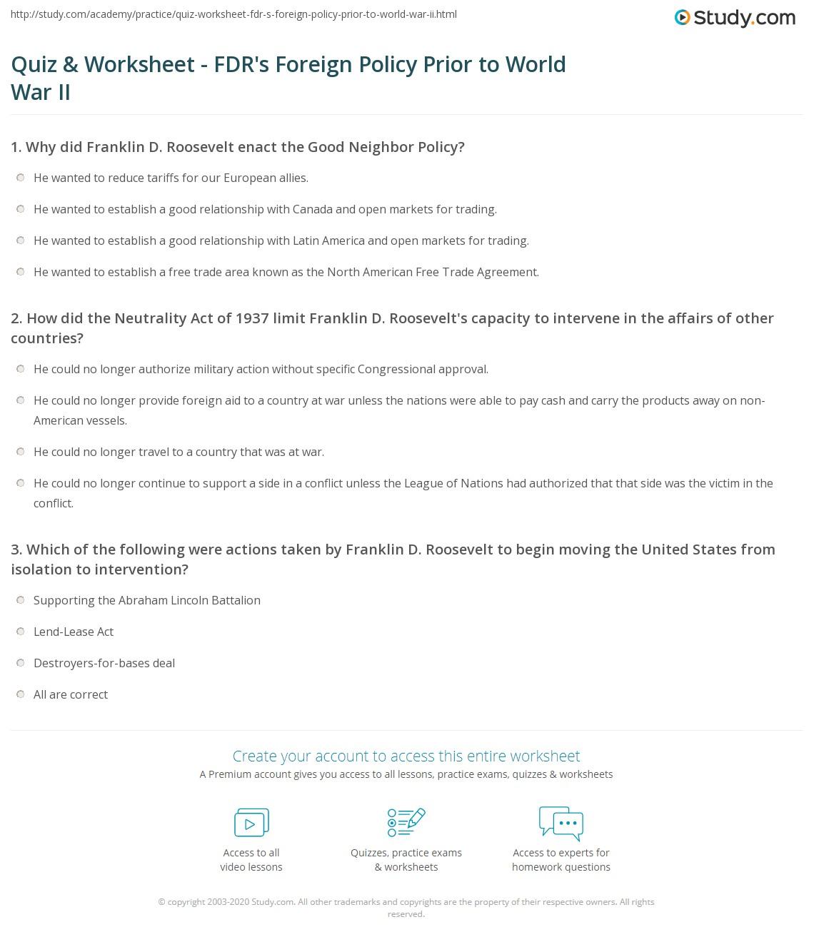 Worksheets World War Ii Worksheets quiz worksheet fdrs foreign policy prior to world war ii print franklin d roosevelts worksheet