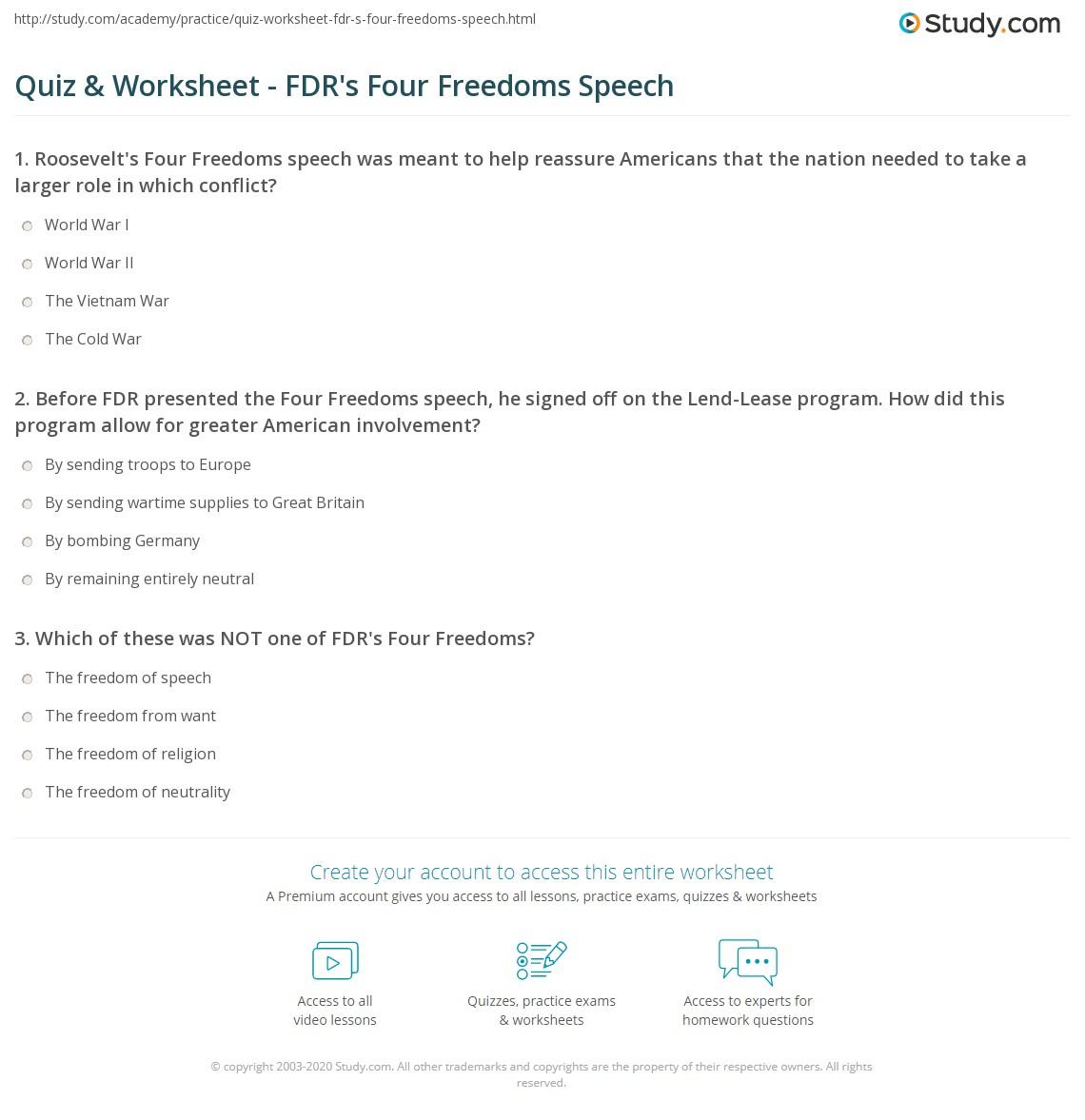 Worksheets Parts Of Speech Worksheets High School quiz worksheet fdrs four freedoms speech study com print roosevelts summary analysis worksheet