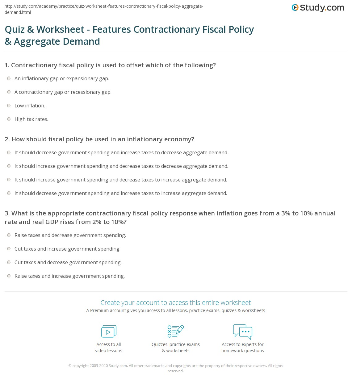 Quiz & Worksheet - Features Contractionary Fiscal Policy ...