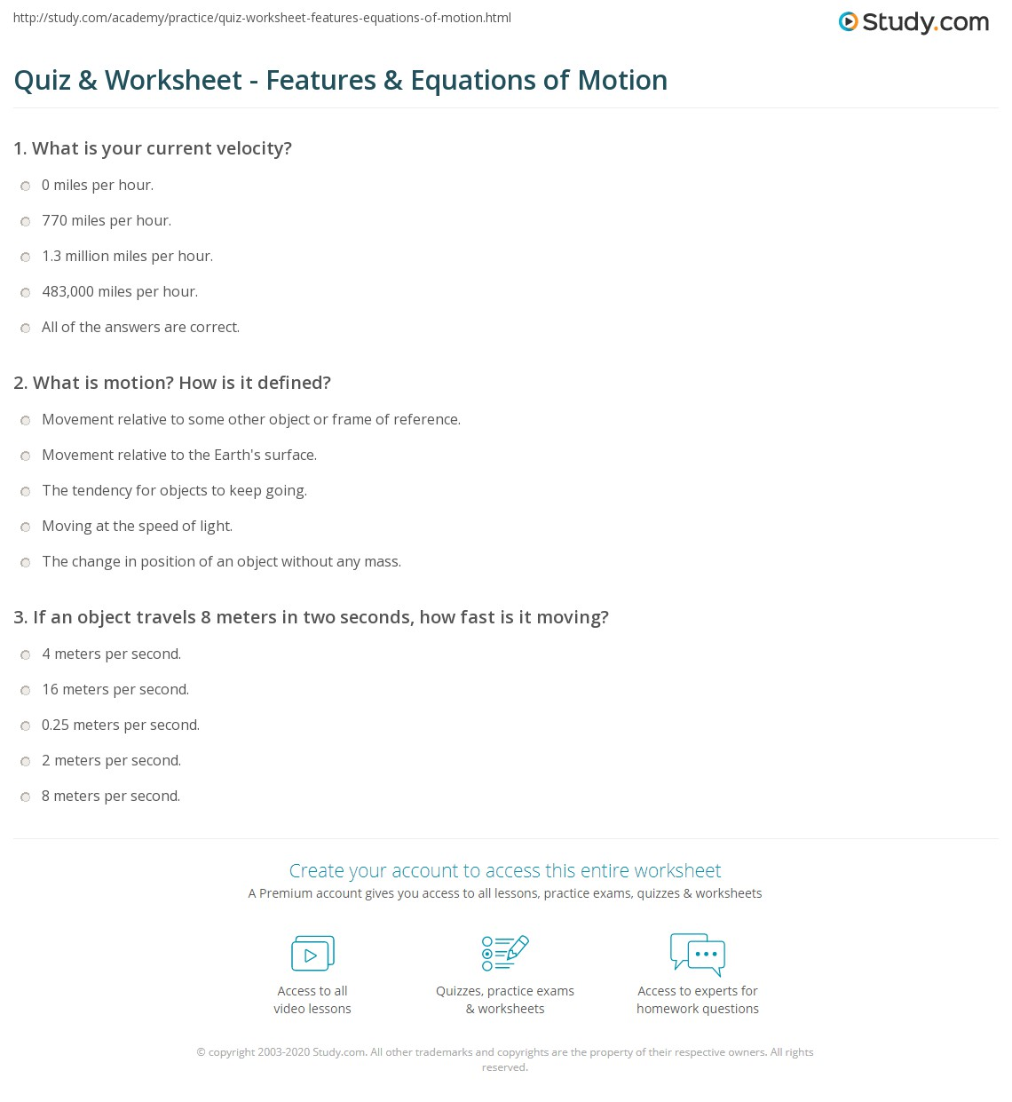 worksheet Motion Worksheets quiz worksheet features equations of motion study com print what is definition worksheet