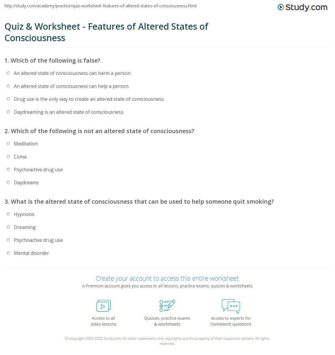 quiz worksheet features of altered states of consciousness  print altered states of consciousness definition examples worksheet