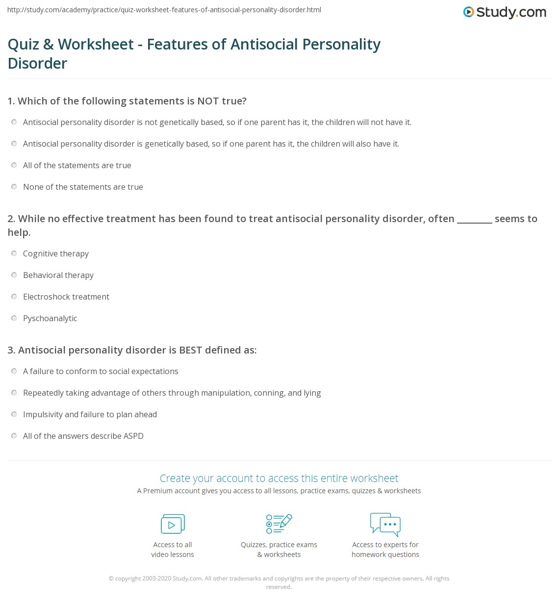 Quiz & Worksheet Features of Antisocial Personality Disorder