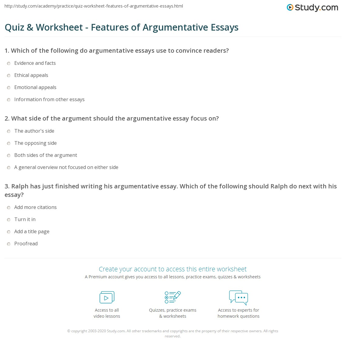 quiz worksheet features of argumentative essays com what side of the argument should the argumentative essay focus on