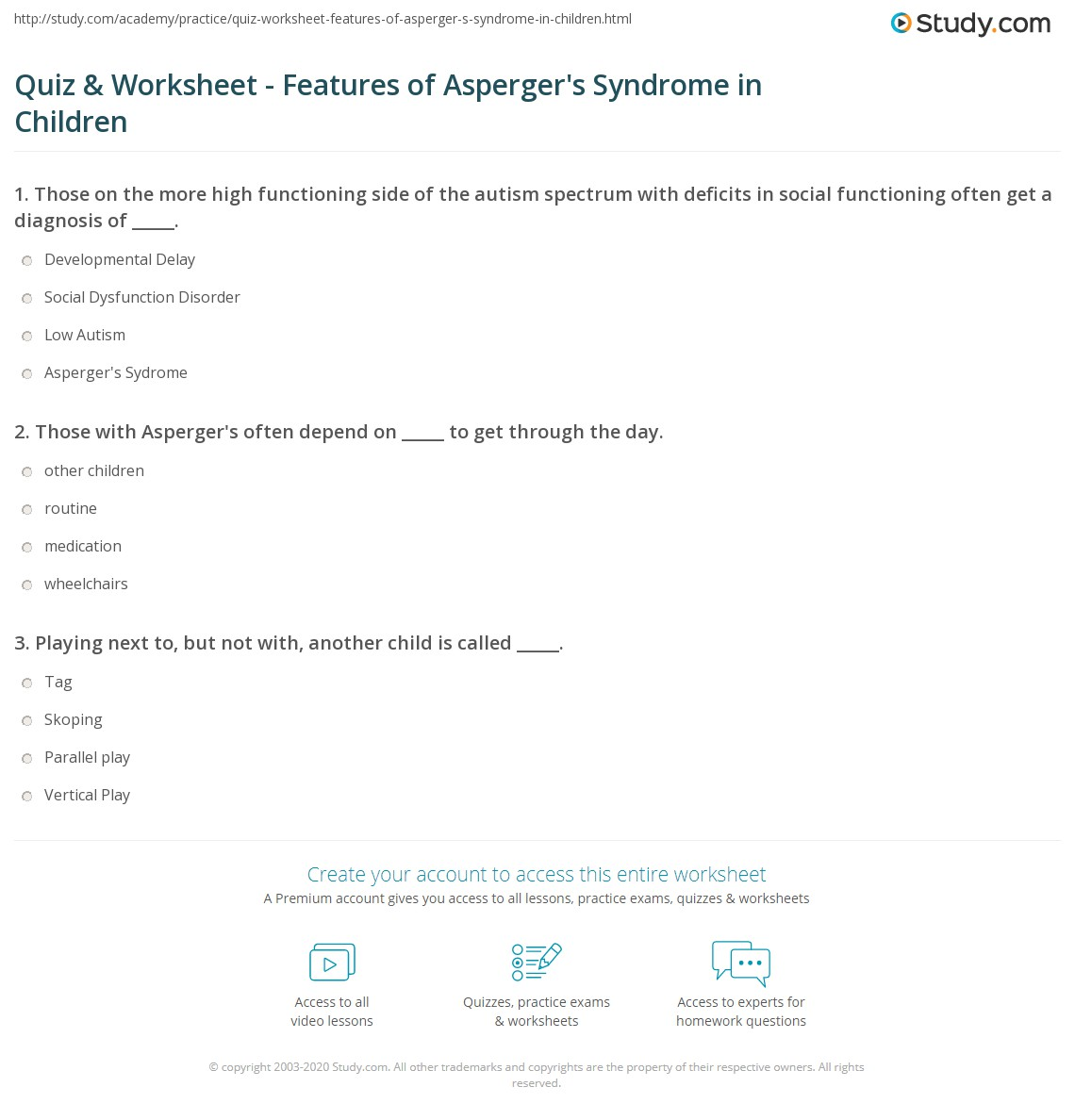 Quiz & Worksheet - Features of Asperger's Syndrome in