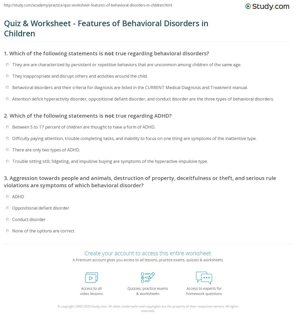 worksheet Oppositional Defiant Disorder Worksheets quiz worksheet features of behavioral disorders in children print definition symptoms worksheet