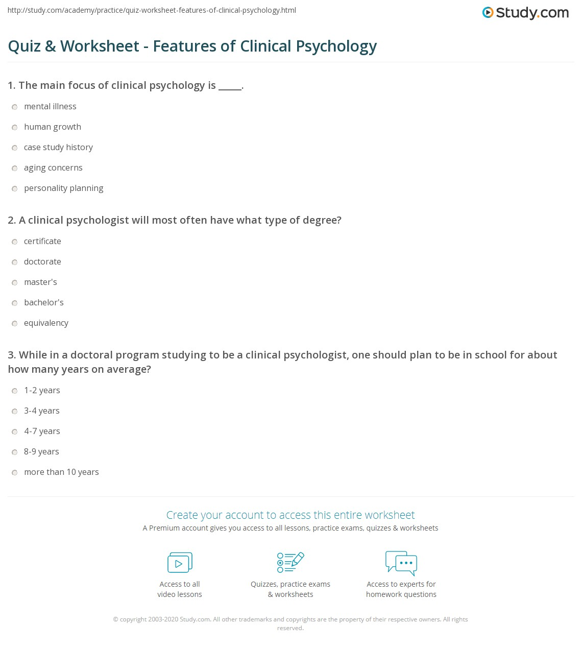 Quiz worksheet features of clinical psychology study a clinical psychologist will most often have what type of degree certificate 1betcityfo Choice Image