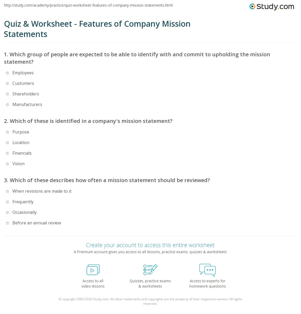 Quiz Worksheet Features Of Company Mission Statements Study