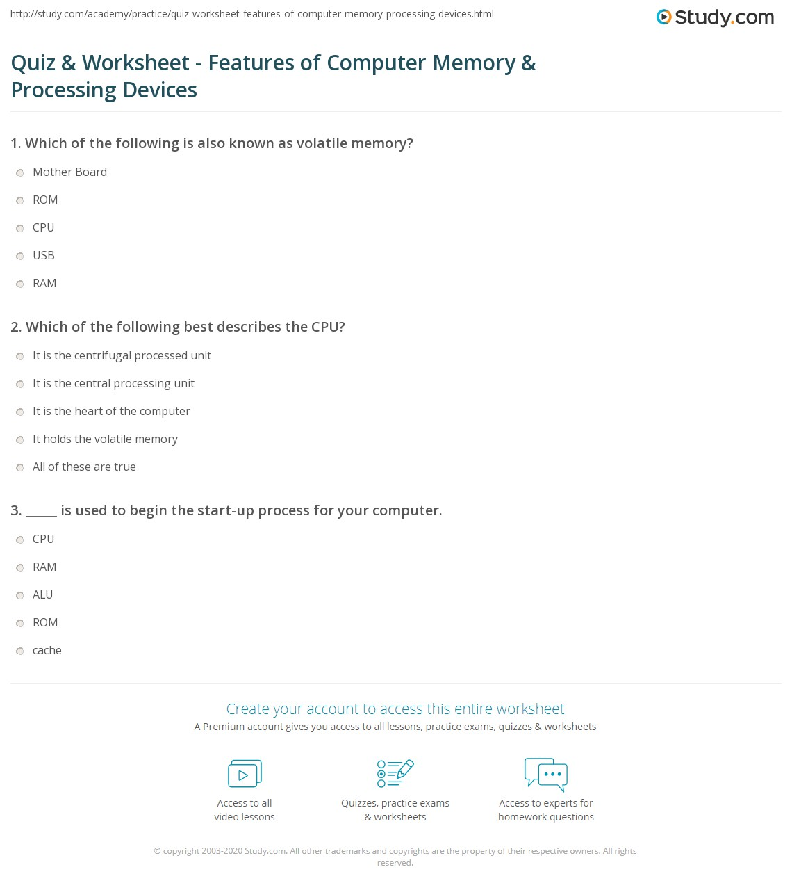 quiz worksheet features of computer memory processing devices. Black Bedroom Furniture Sets. Home Design Ideas
