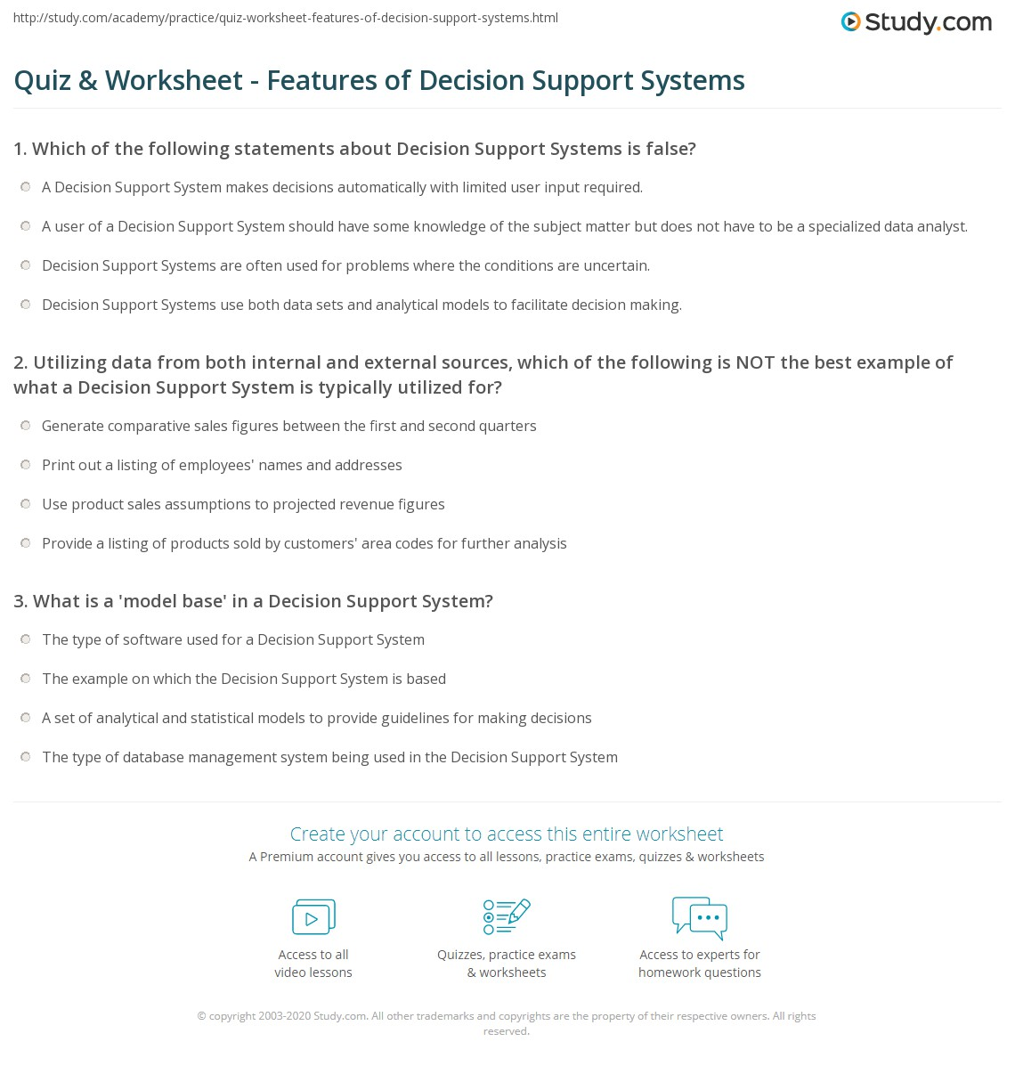 Quiz & Worksheet - Features of Decision Support Systems ...