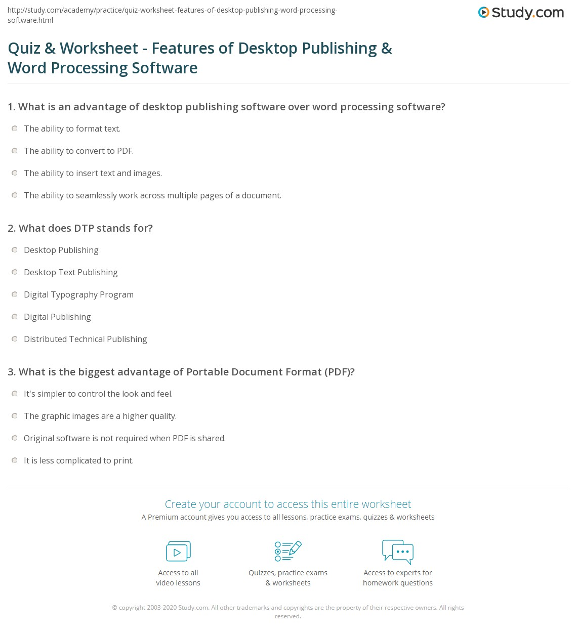 quiz & worksheet - features of desktop publishing & word processing