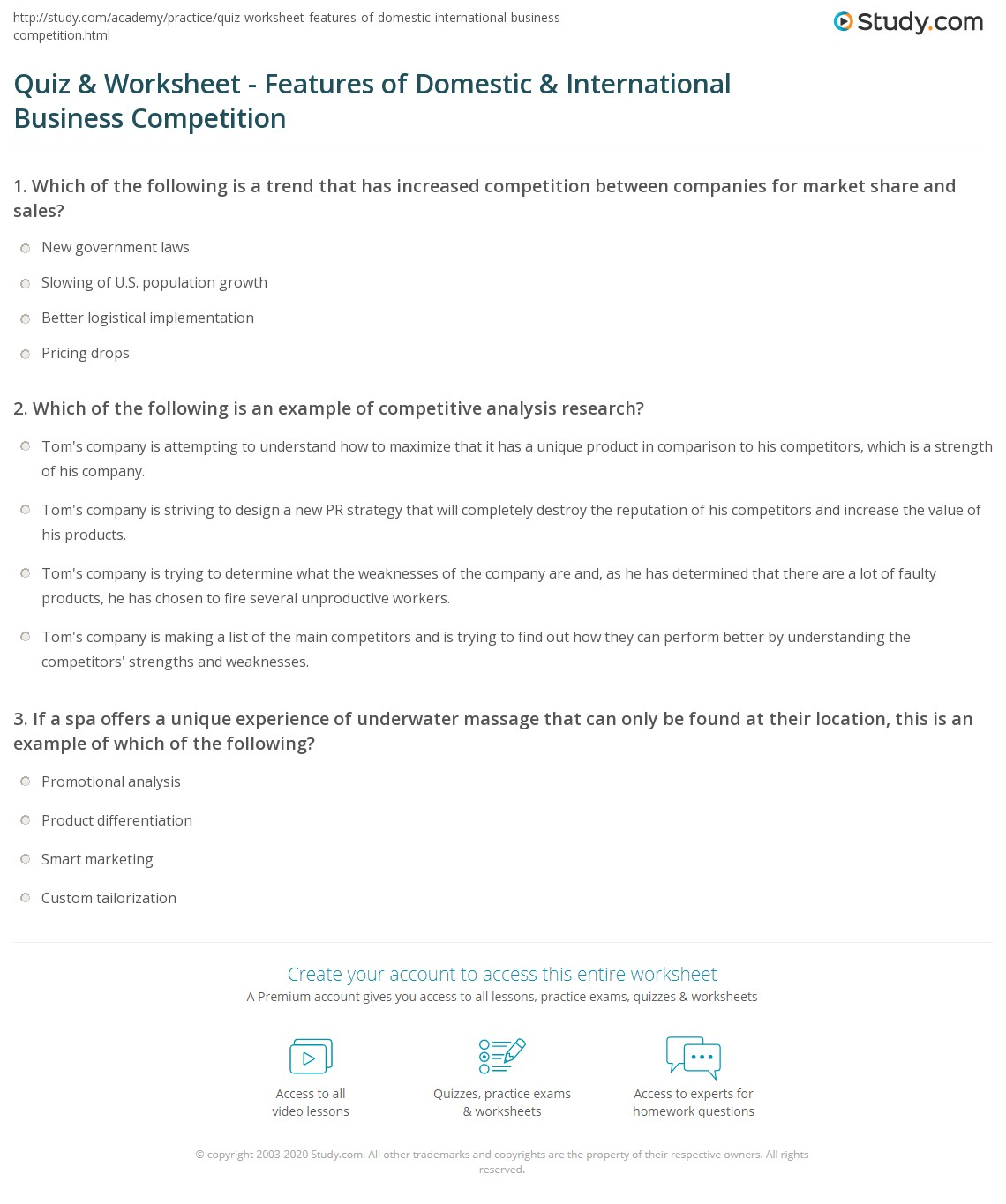Quiz worksheet features of domestic international business print foreign and domestic business competition definition and regulations worksheet yelopaper Images