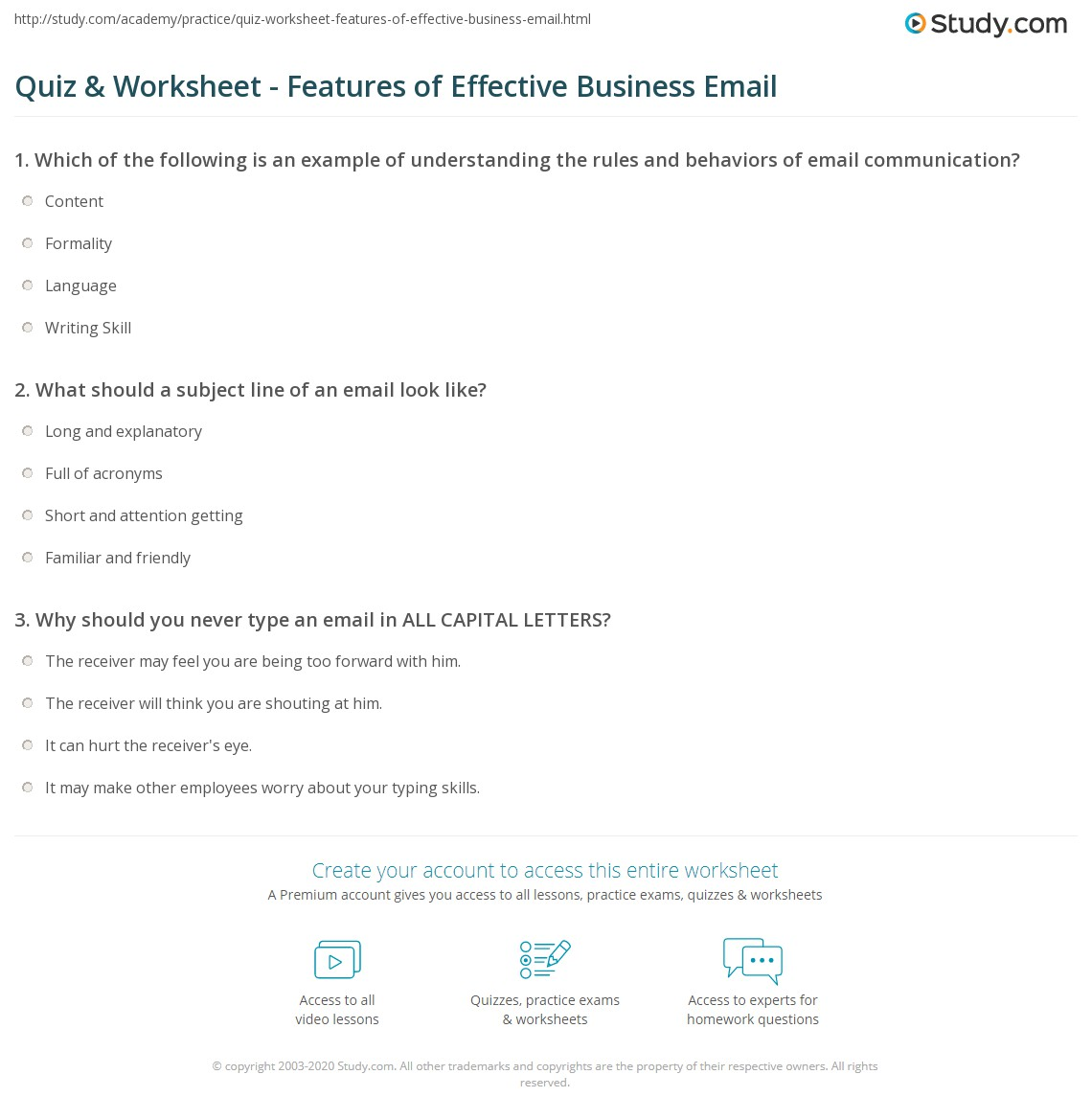 Quiz & Worksheet - Features of Effective Business Email | Study.com