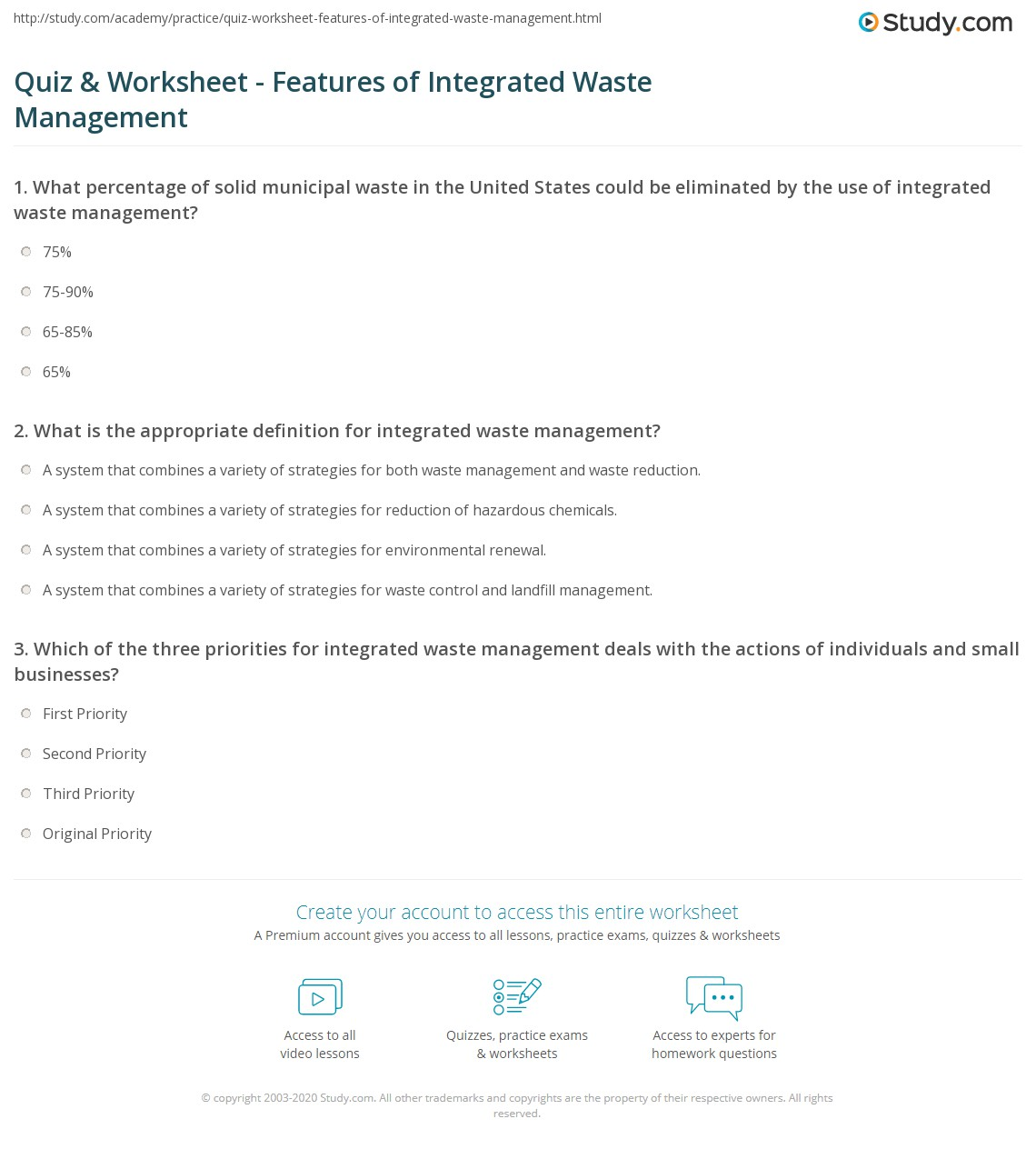 Quiz and Worksheet Features of Integrated Waste Management – Integrated Math 1 Worksheets