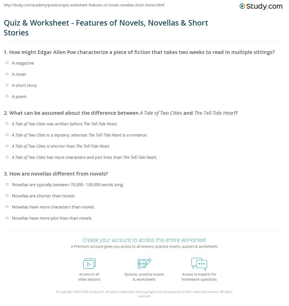 - Quiz & Worksheet - Features Of Novels, Novellas & Short Stories