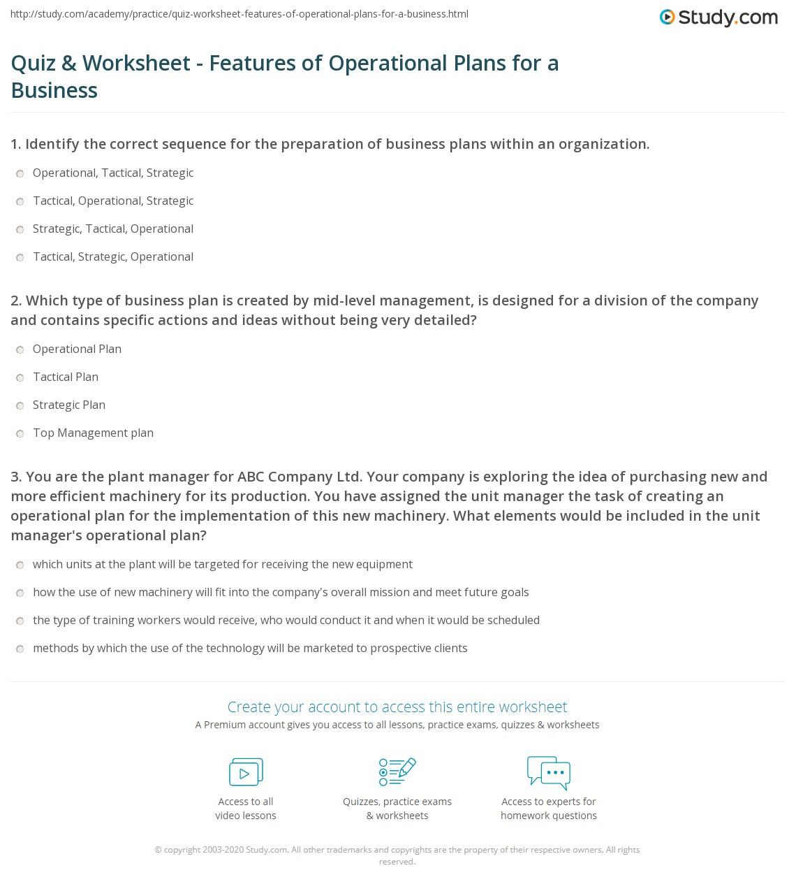 Create An Operational Plan