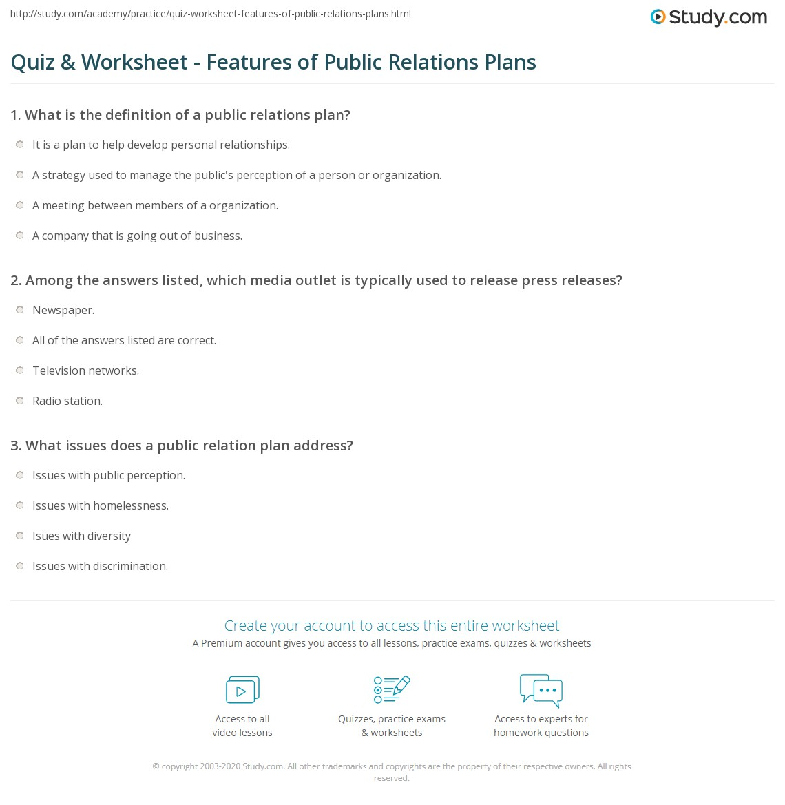 Print Public Relations Plan Example Overview Worksheet