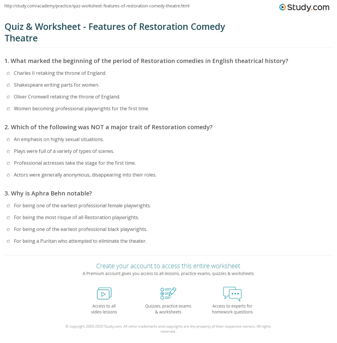 quiz worksheet features of restoration comedy theatre. Black Bedroom Furniture Sets. Home Design Ideas