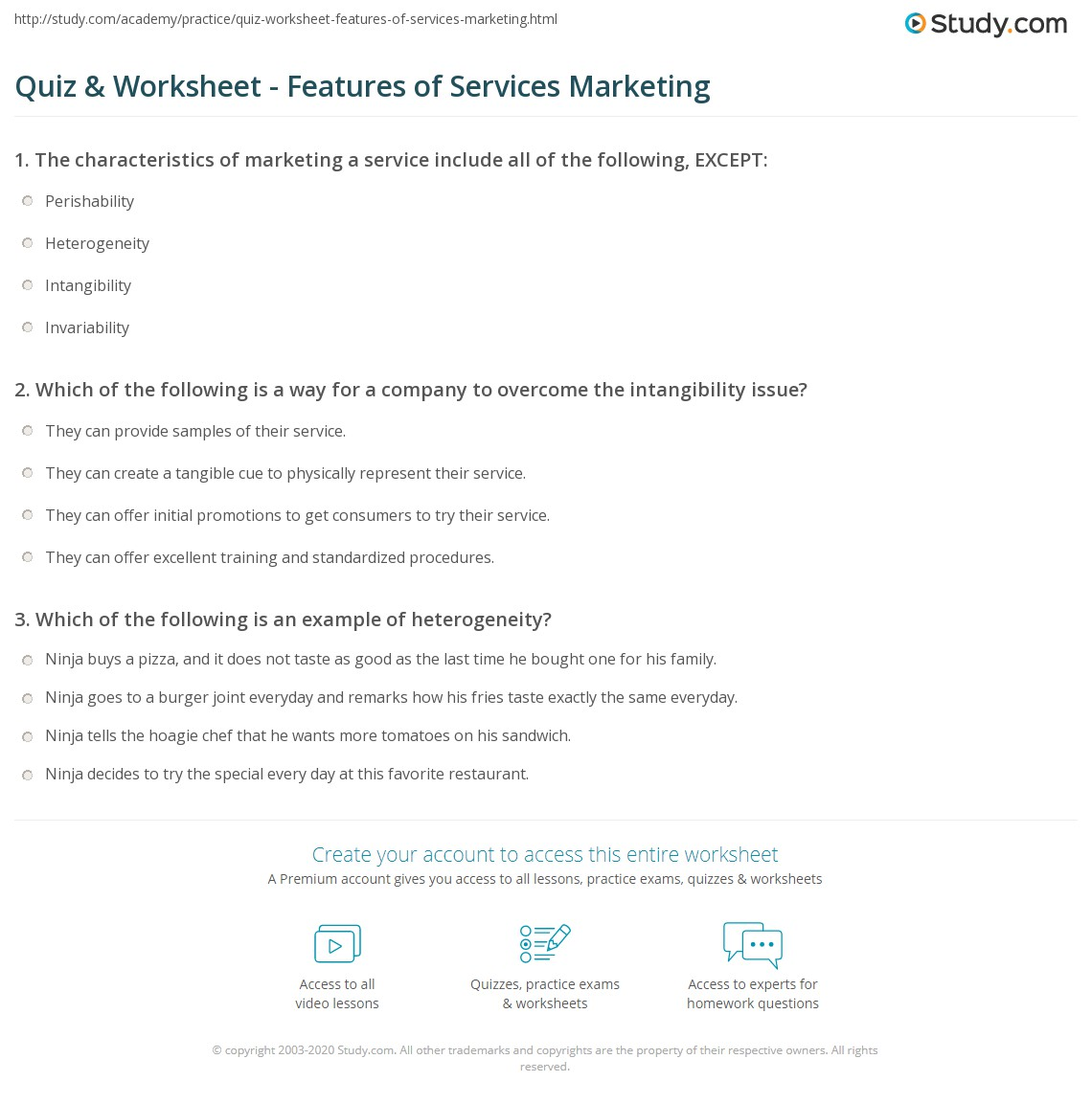 Worksheets Goods And Services Worksheet quiz worksheet features of services marketing study com print the difference between and goods worksheet