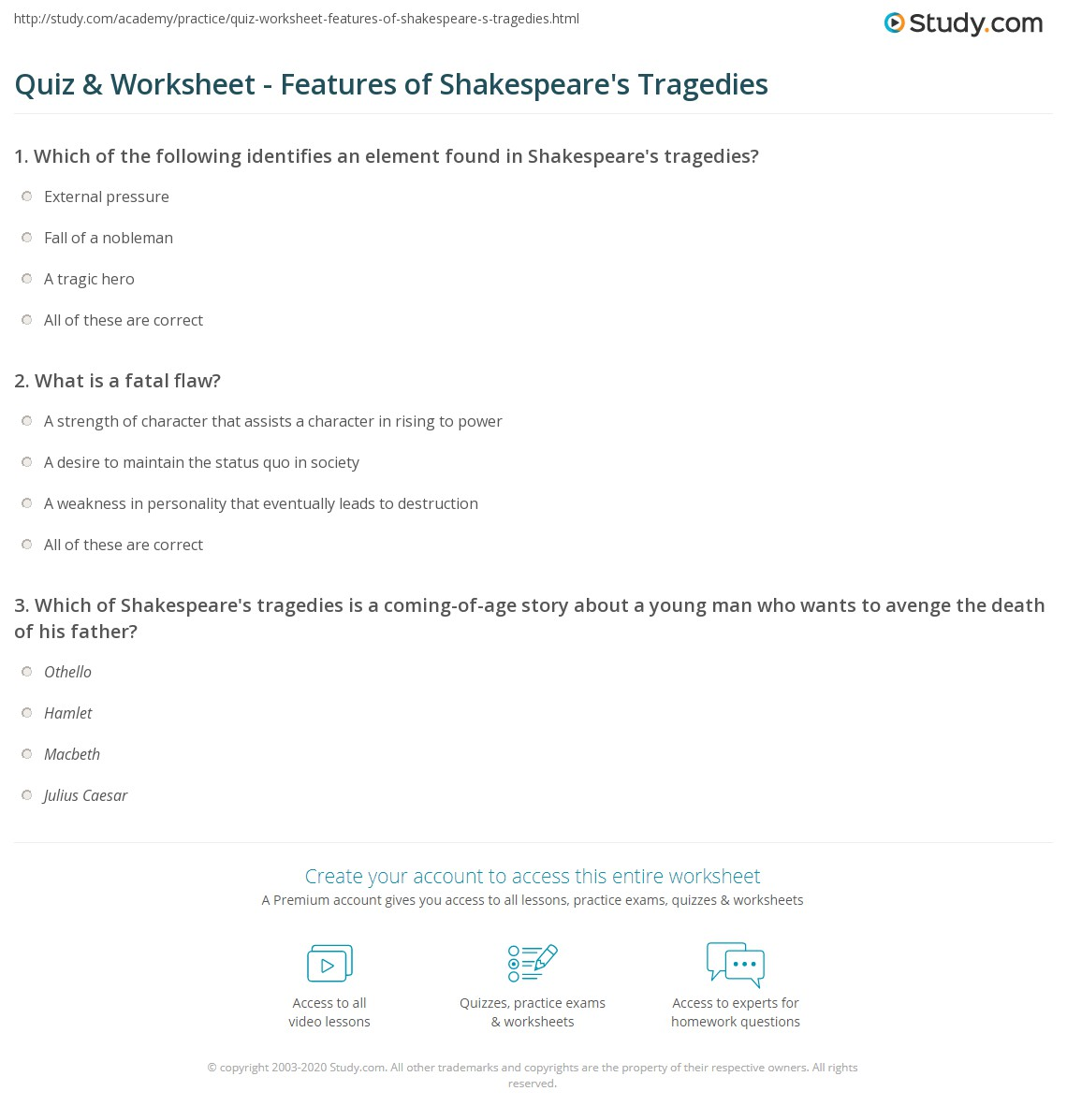 Worksheets Shakespeare Worksheets quiz worksheet features of shakespeares tragedies study com print tragedy plays elements structure worksheet