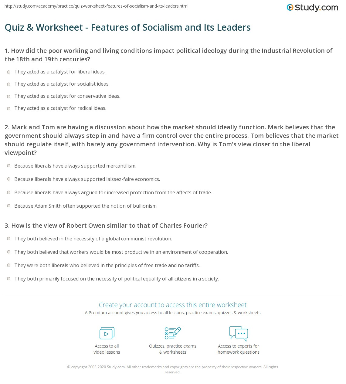 quiz & worksheet - features of socialism and its leaders | study