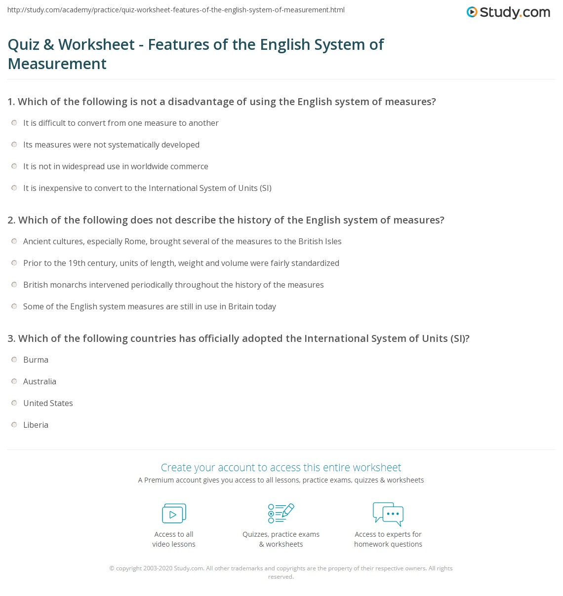 Workbooks measuring length worksheets : Quiz & Worksheet - Features of the English System of Measurement ...