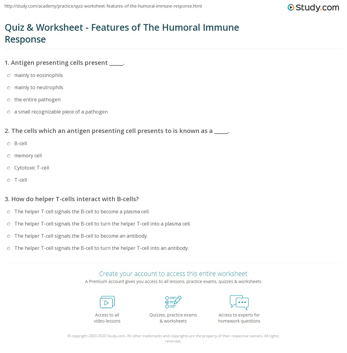 Quiz & Worksheet - Features of The Humoral Immune Response ...