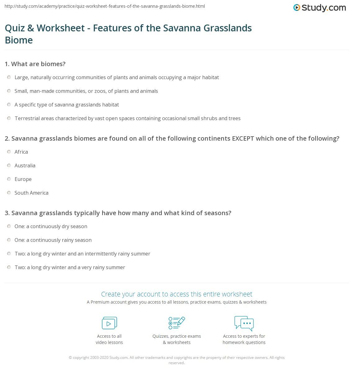 quiz worksheet features of the savanna grasslands biome. Black Bedroom Furniture Sets. Home Design Ideas