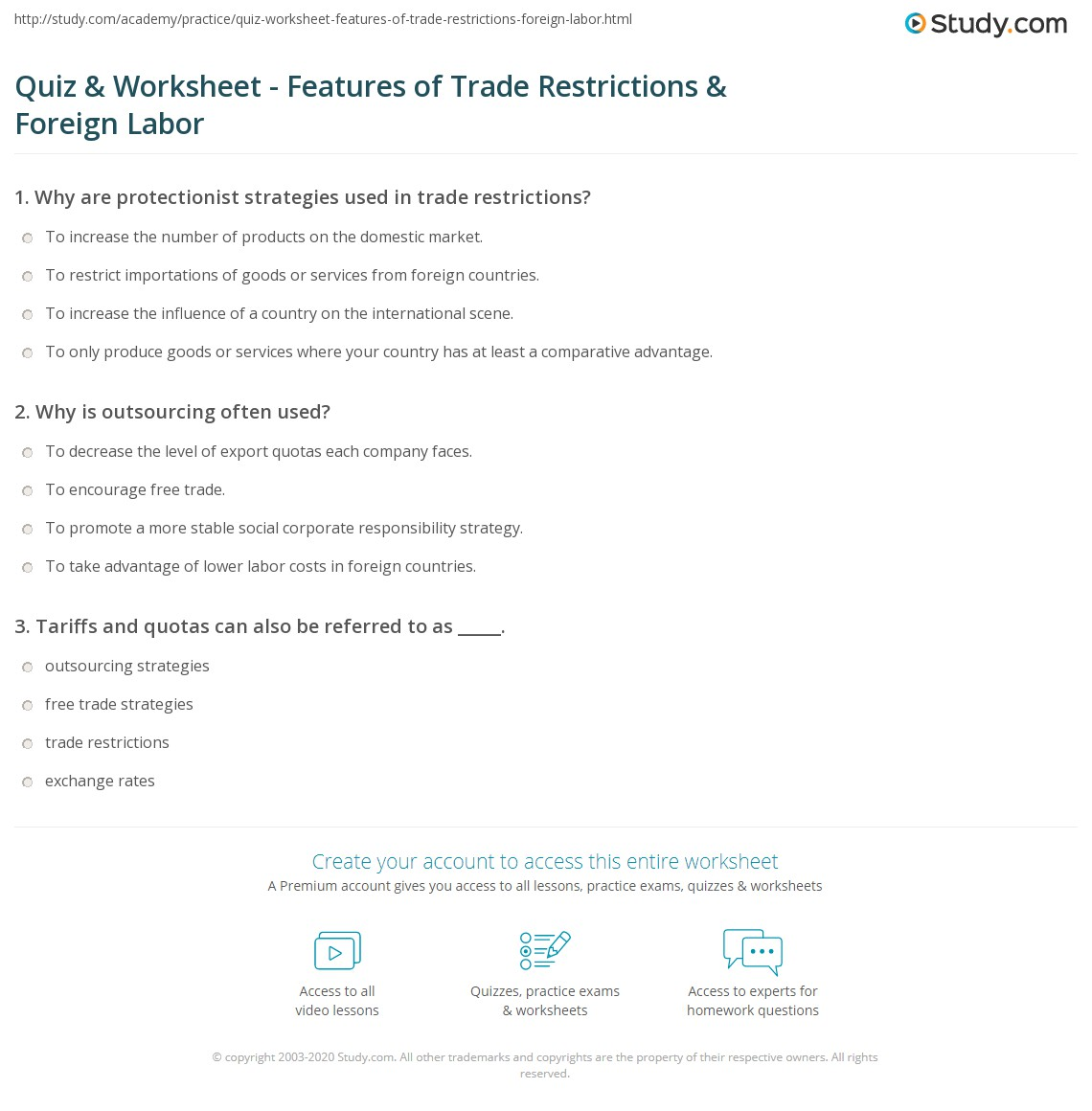 quiz worksheet features of trade restrictions foreign labor. Black Bedroom Furniture Sets. Home Design Ideas