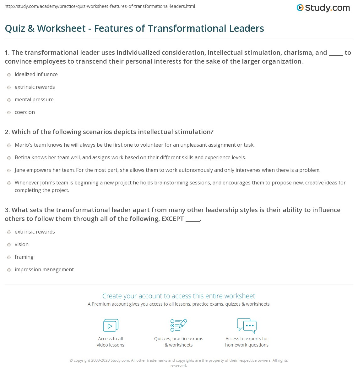 Quiz & Worksheet - Features of Transformational Leaders
