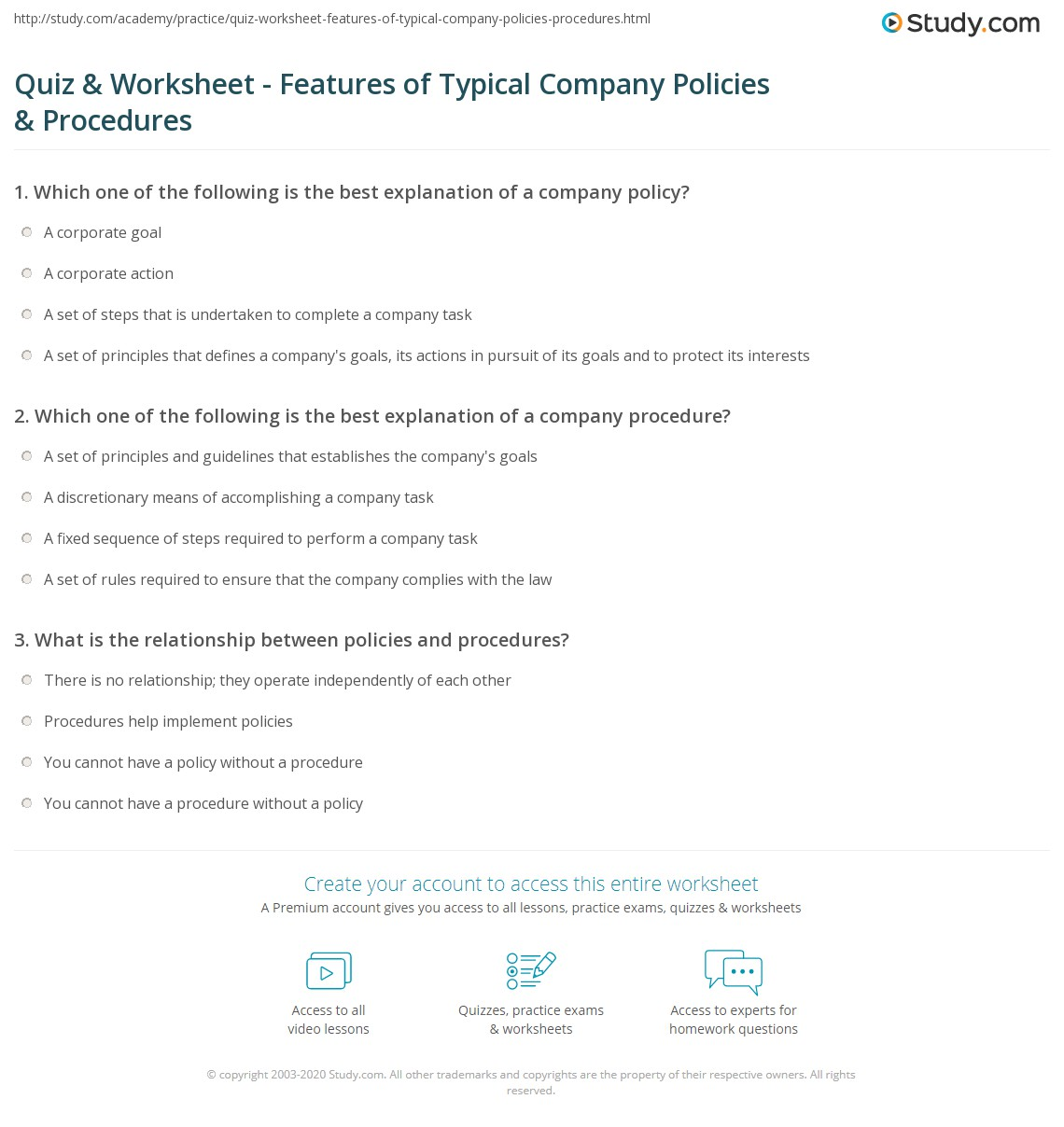Policy And Procedures Template | Quiz Worksheet Features Of Typical Company Policies Procedures