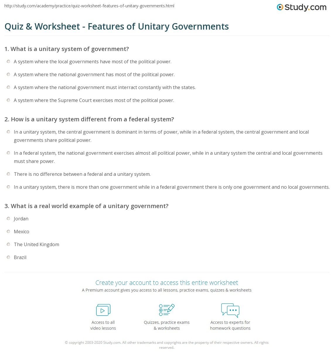 Quiz & Worksheet - Features of Unitary Governments | Study.com