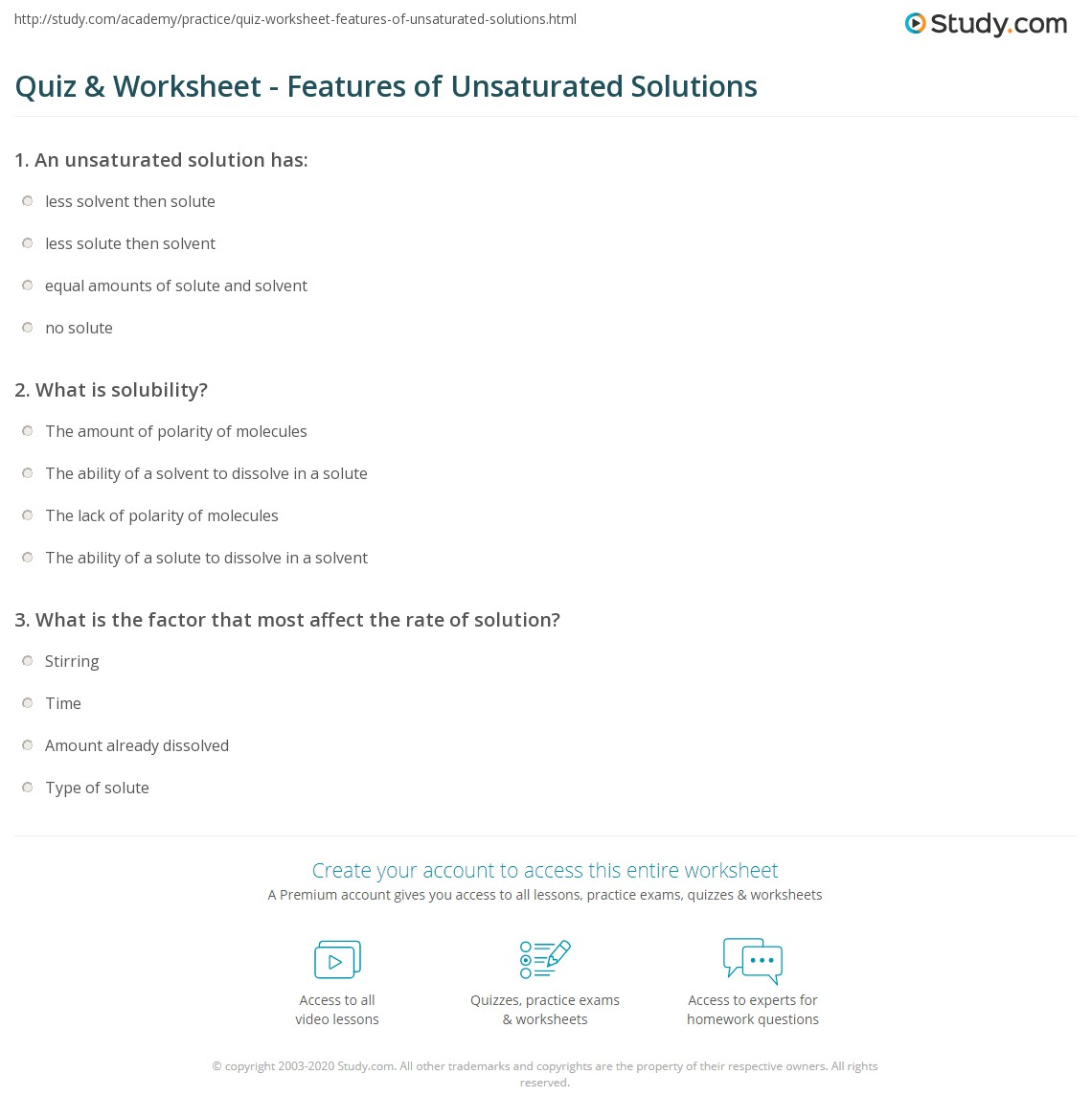 Quiz Worksheet Features Of Unsaturated Solutions Study