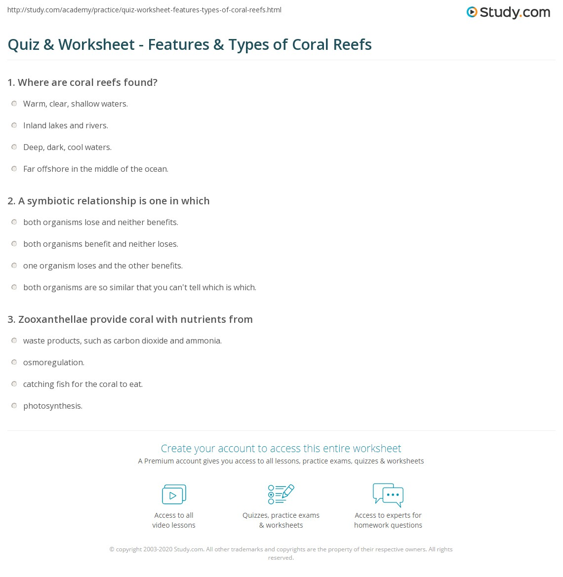 Quiz & Worksheet - Features & Types of Coral Reefs   Study.com