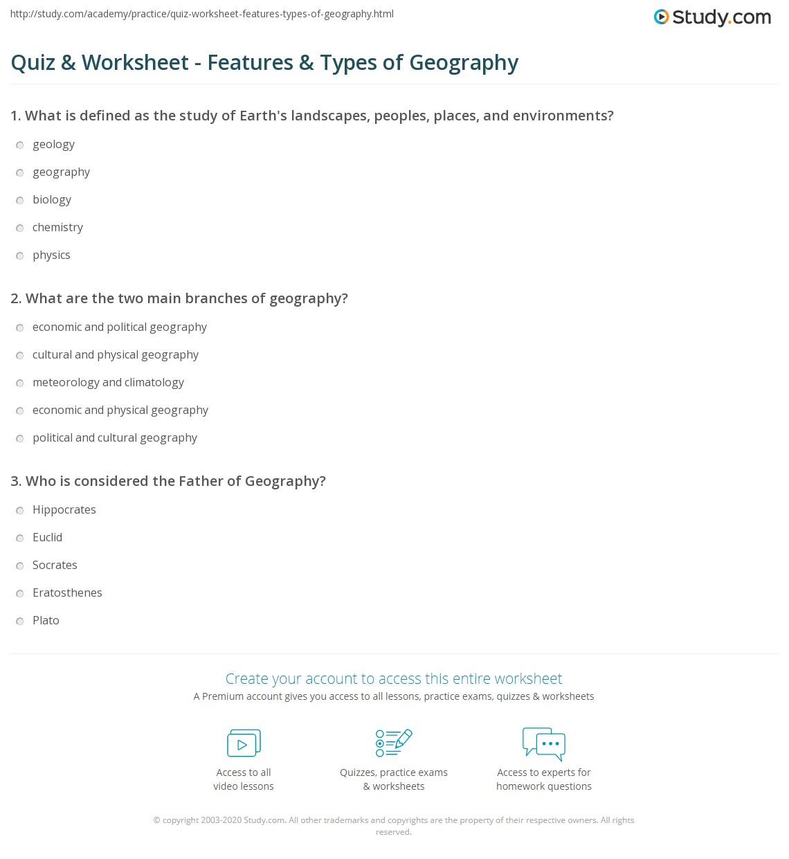 Quiz Amp Worksheet Features Amp Types Of Geography Study Com